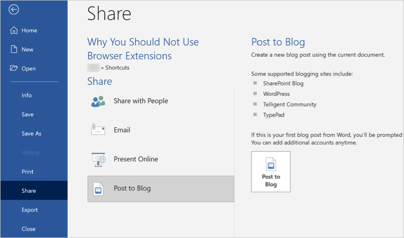 Post to Blog Option in Word