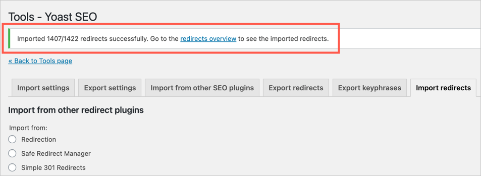 Redirects Successfully Imported