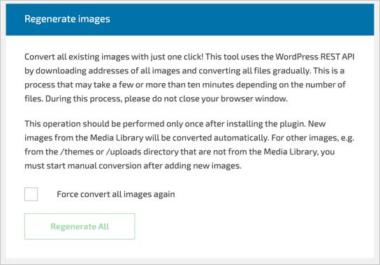 Регенерировать изображения WebP