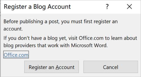 Register a Blog Account