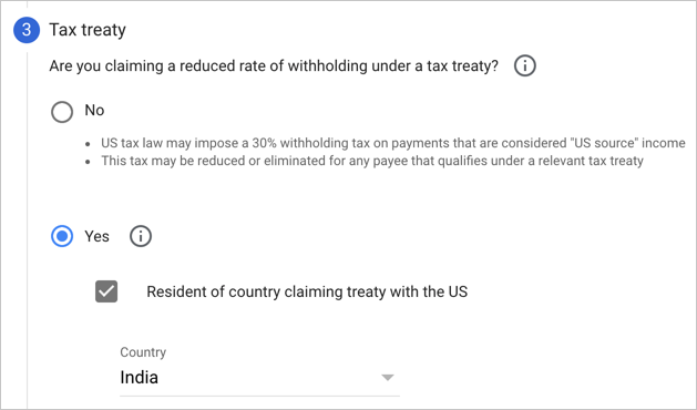 Select Country for Tax Treaty