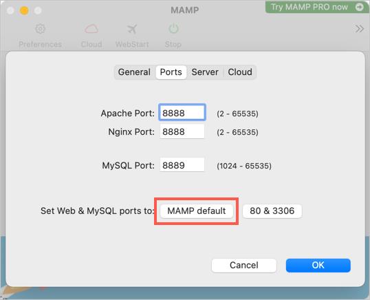 Установить порты MAMP по умолчанию