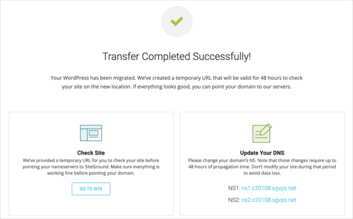 Transfer Completed Successfully