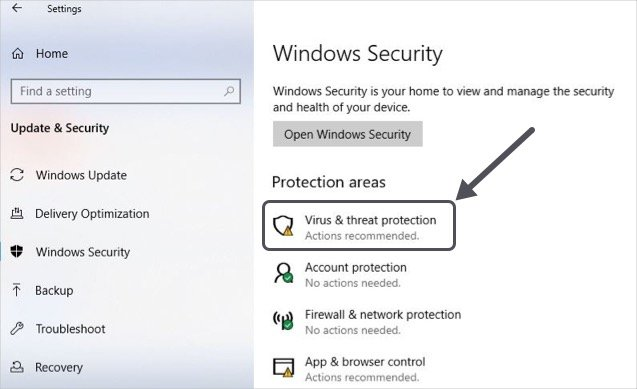 Virus and Thread Protection for Windows