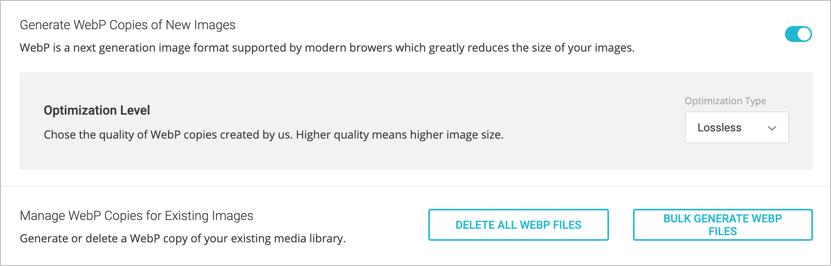 Опция WebP в плагине SG Optimizer