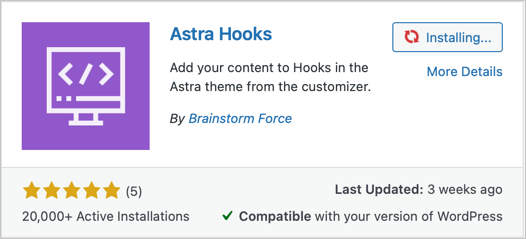 Astra Hooks Plugin