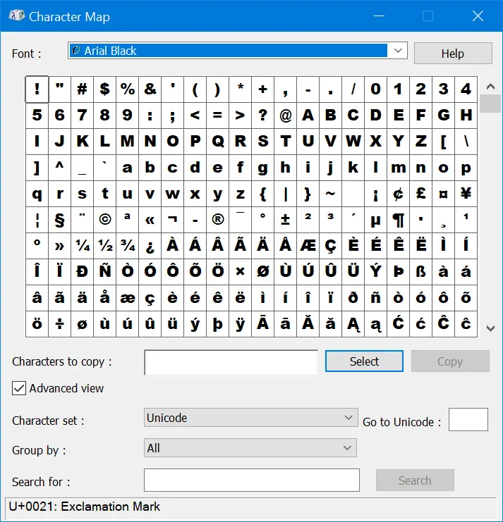 Character Map App in Windows Computer