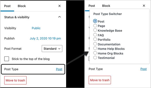 Convert Post Type in Gutenberg Editor
