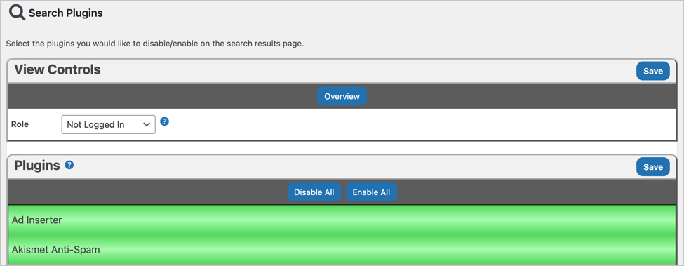 Disable Plugins on Search Page