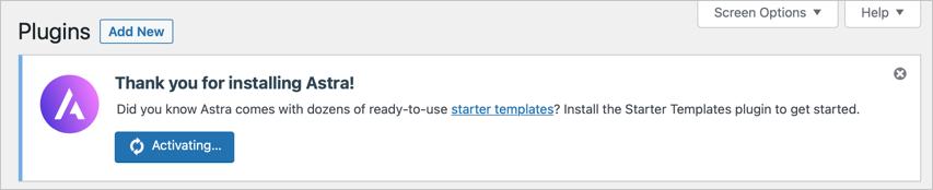 Install Astra Starter Template Plugin