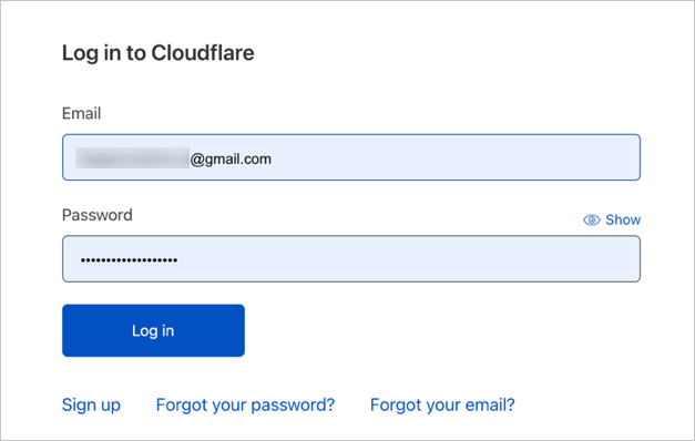 Login to Cloudflare Account