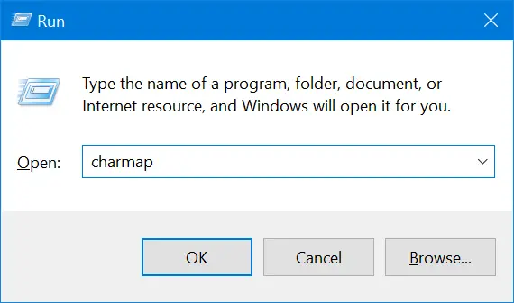 Open Character Map in Windows