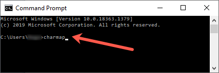 Open charmap from Command Prompt