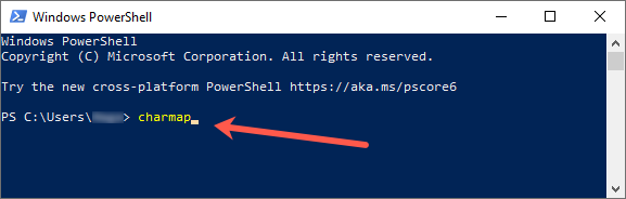Open charmap from PowerShell