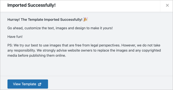 Page Template Imported Successfully