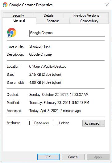 Shortcut File Location