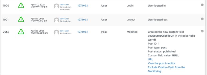 User Activity Logs