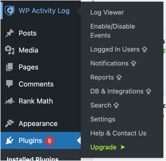 WP Activity Log Plugin Menus