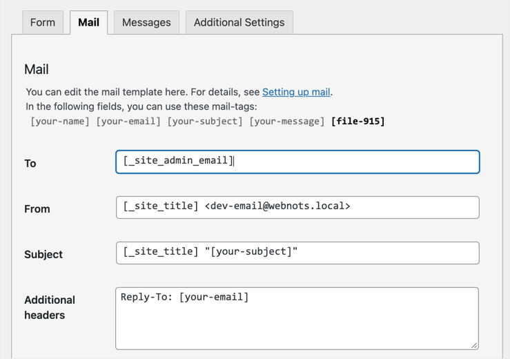 Contact Form 7 Mail Settings