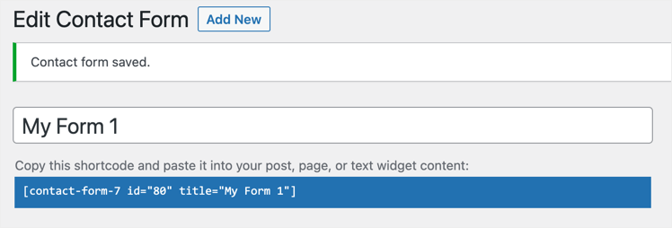 Contact Form Saved