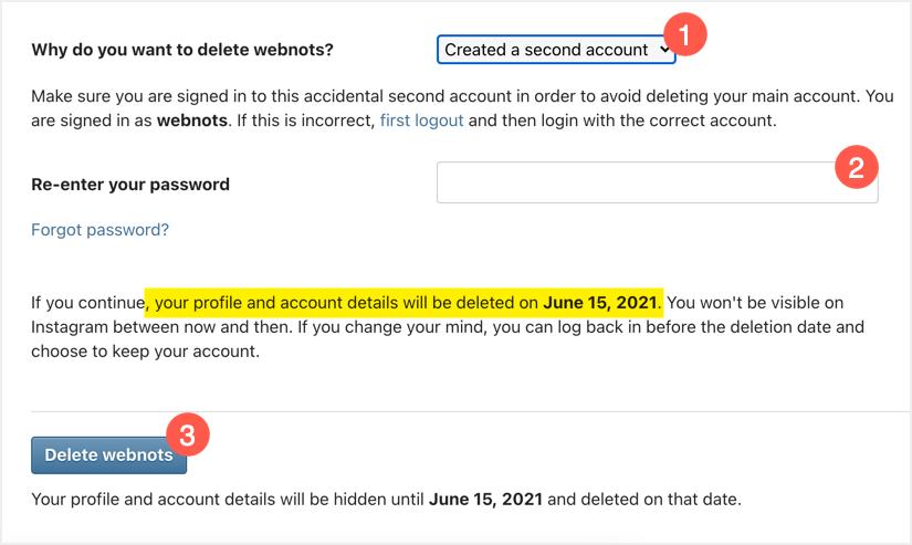 Удалить аккаунт Instagram навсегда