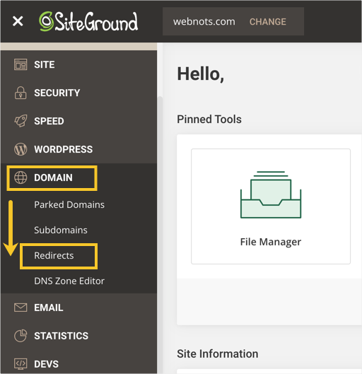 Domain Redirects in SiteGround