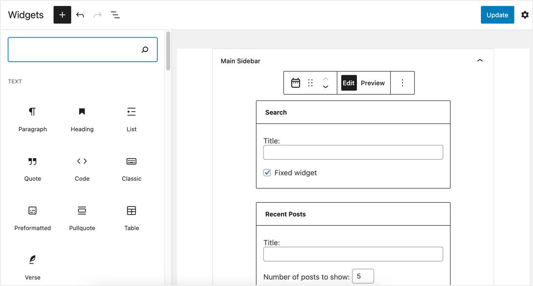 Fixed Widget Option in Widget Blocks