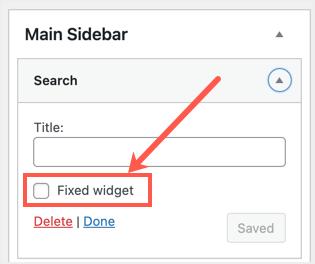 Fixed Widget Option
