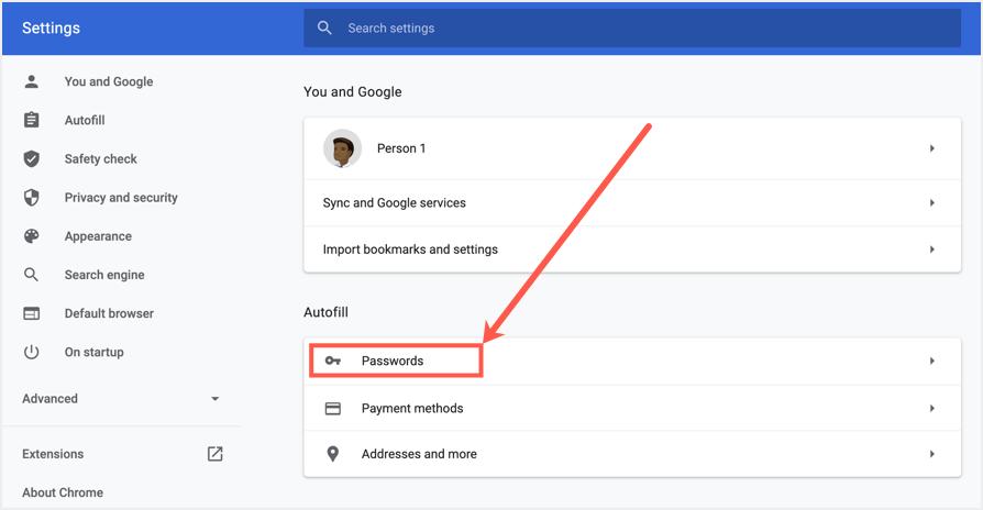 Google Chrome Password Settings in Desktop