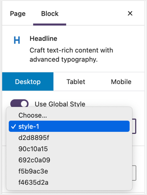 Insert Global Style in Editor