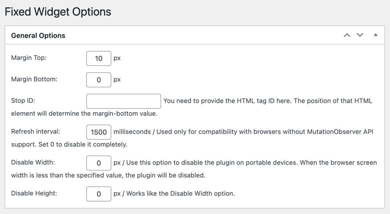 Q2W3 Fixed Widget Plugin Settings