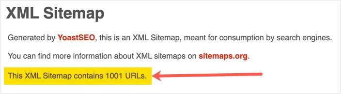 1000 URL-адресов в файле Sitemap Yoast