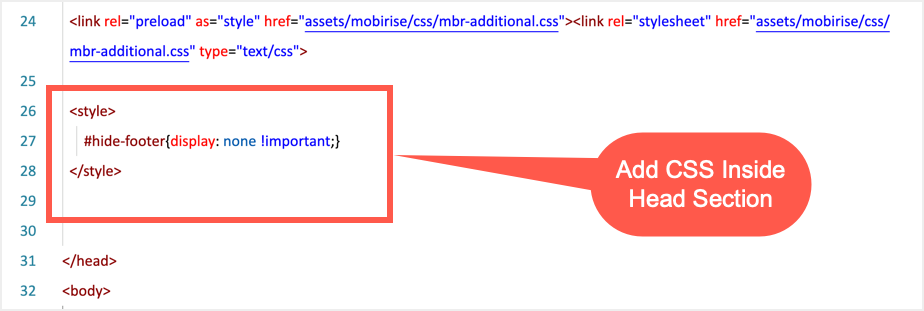 Добавить CSS внутри заголовка