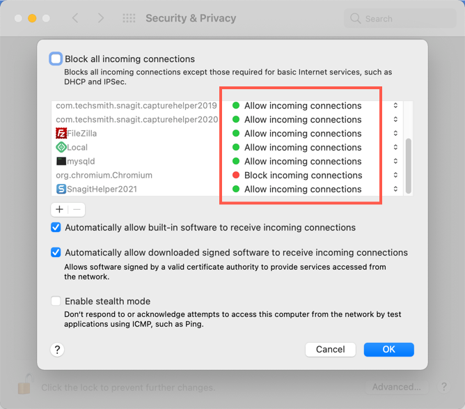 Allow Incoming Connections for Apps