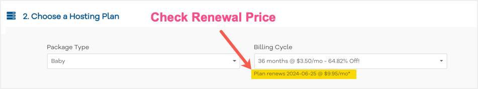 Check Renewal Price