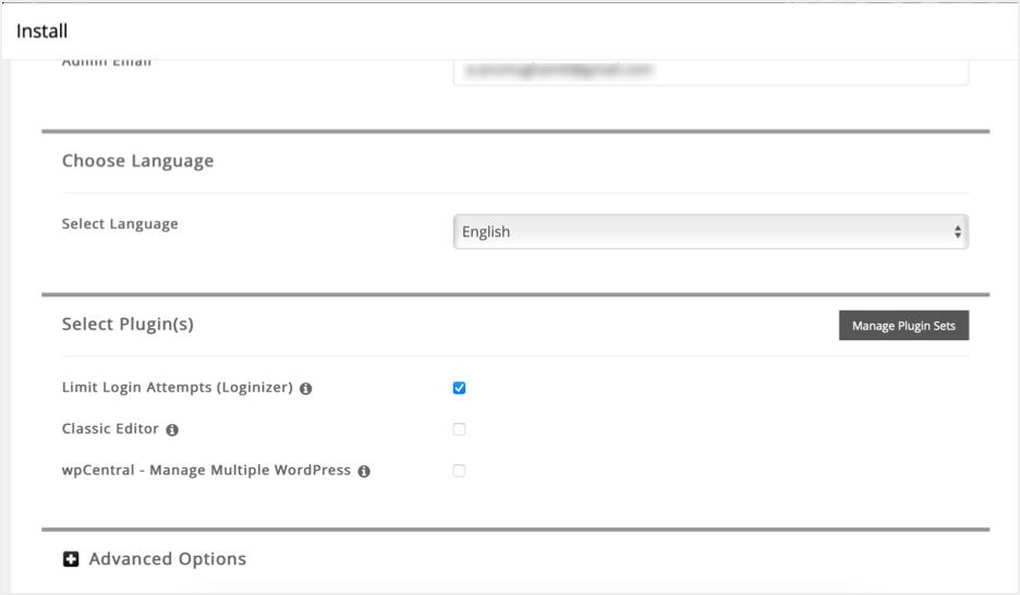 Choose Language and Plugins