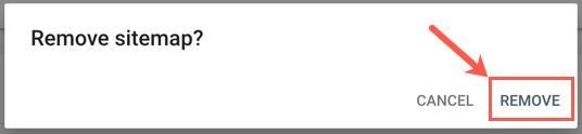 Подтвердите удаление файла Sitemap