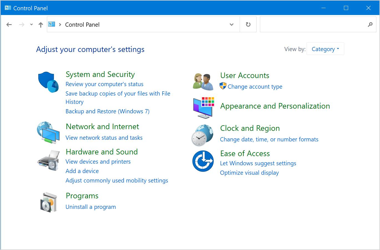 Control Panel in Windows 10