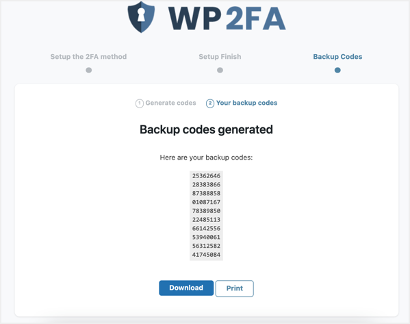 Download or Print Backup Code