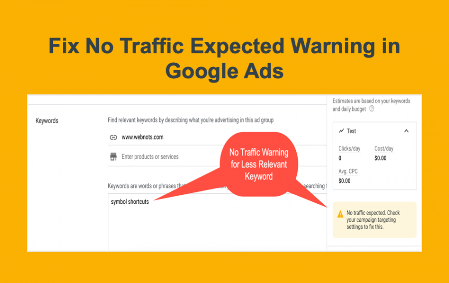 Fix No Traffic Expected Warning in Google Ads
