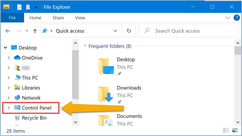 From File Explorer Navigation Menu