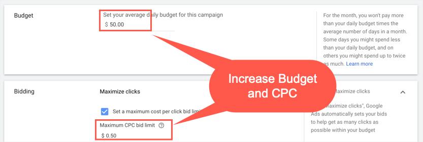 Увеличьте бюджет и цену за клик