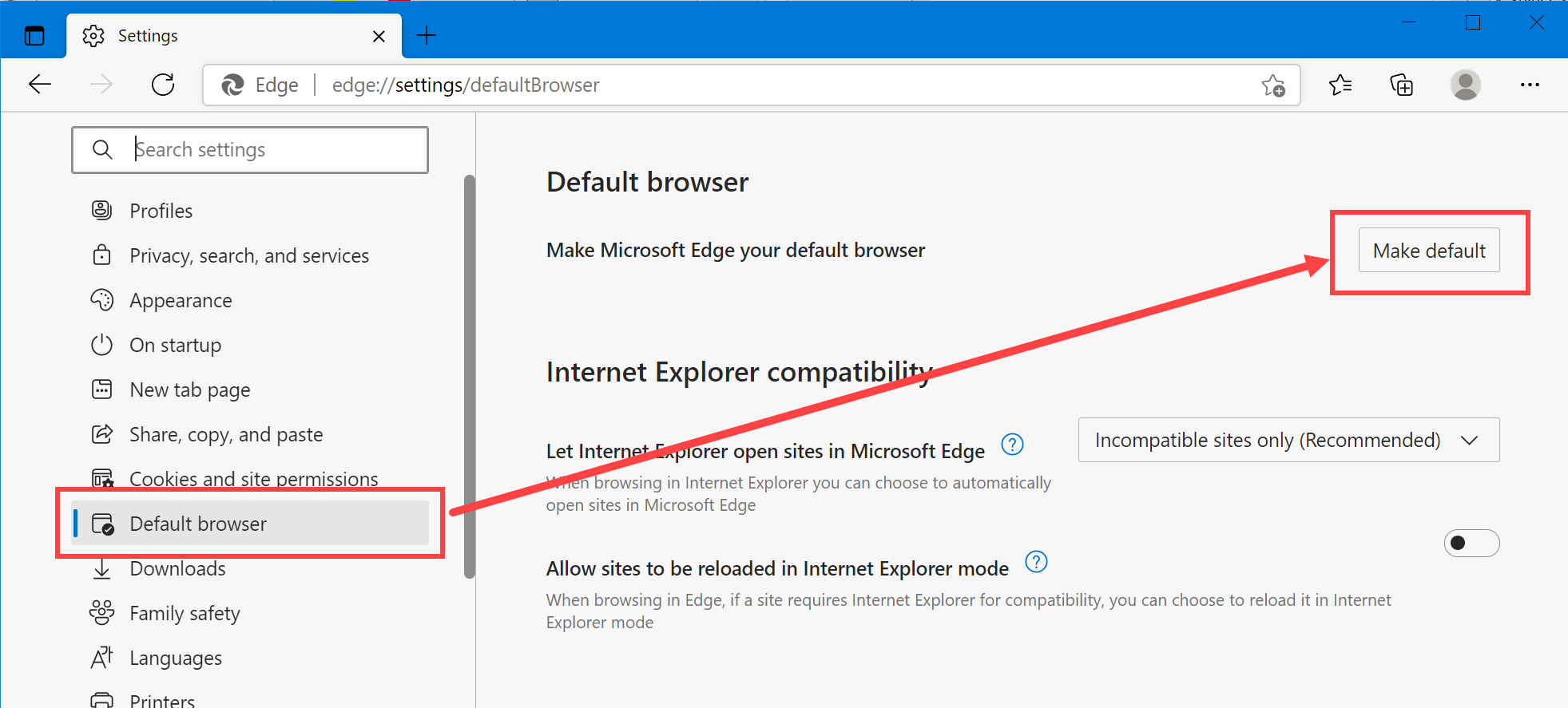 Make Edge Default Browser