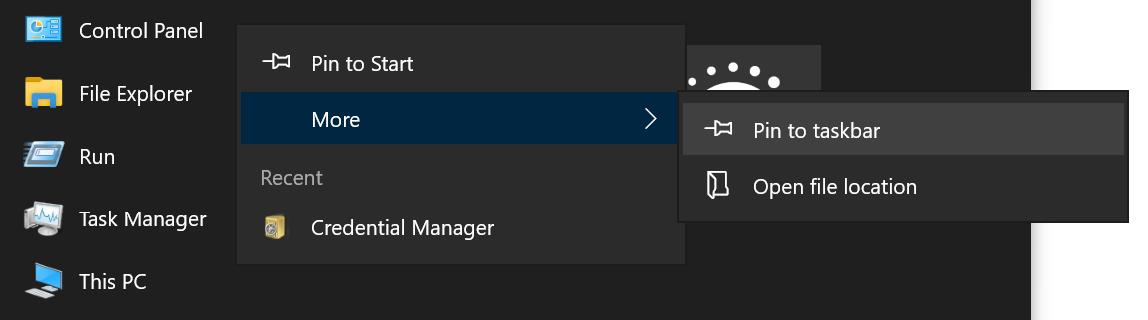 Pin Control Panel App to Start or Taskbar