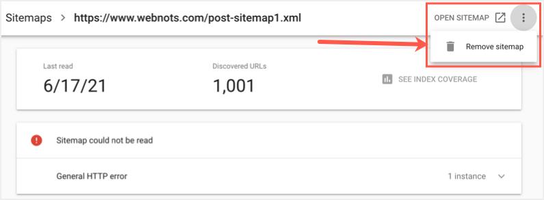 Удалить Sitemap из GSC