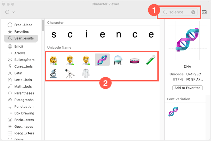 Science Emoji in Mac