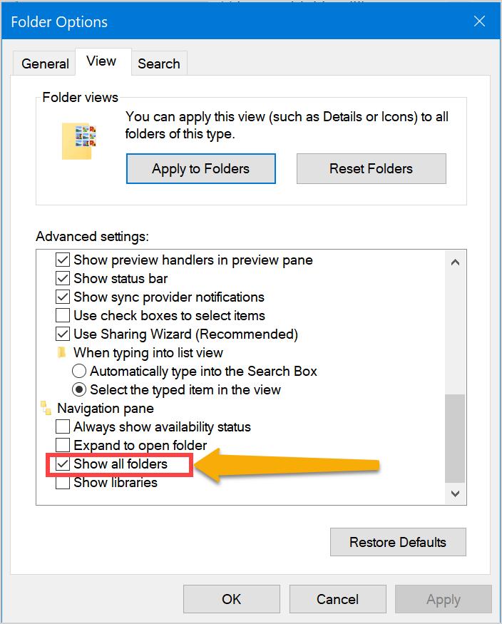 Show All Folders in File Explorer