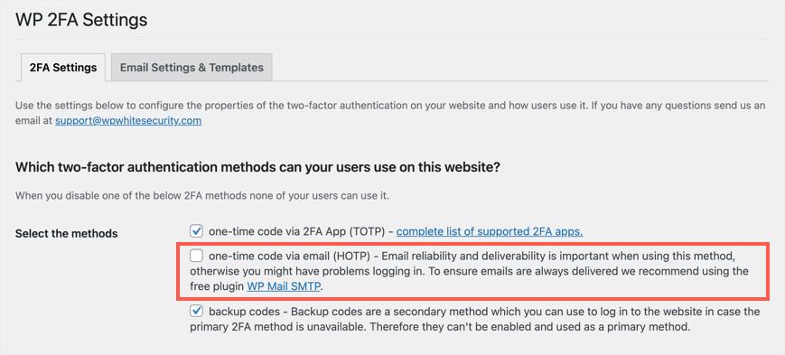 WP 2FA Settings to Select Email Option