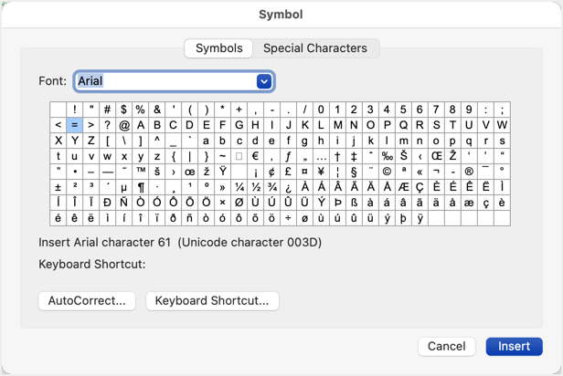Advanced Symbols in Word for Mac