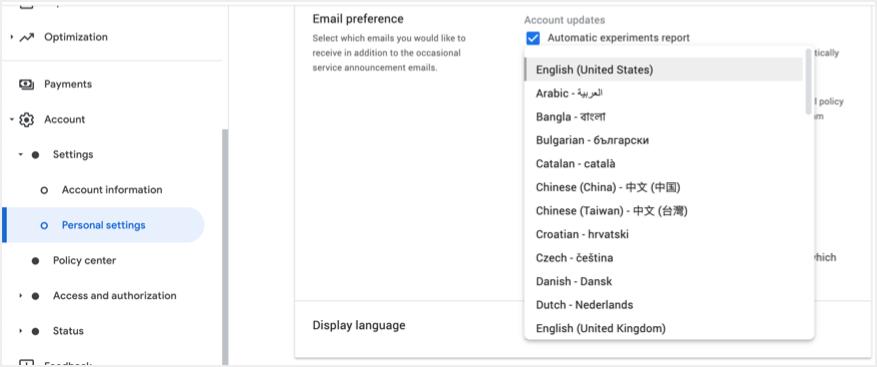 Change Display Language